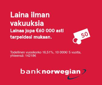 Bank Norwegian tarjoaa edullista kulutusluottoa 1000 - 60 000 €